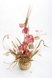 Bouquet with pink flowers and wheat royalty free stock image