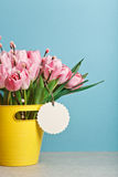 Bouquet of pink fresh tulips with pussy-willow in yellow bucket Stock Photography