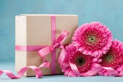 Bouquet of pink gerbera flowers and gift box with ribbon on turquoise table. Greeting card for Birthday, Woman or Mothers Day. Stock Image