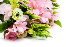 Bouquet of pink and green flowers. Close up Royalty Free Stock Photo