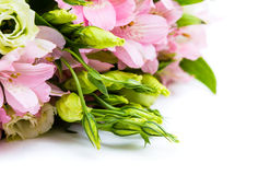 Bouquet of pink and green flowers. Close up Stock Images