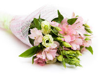 Bouquet of pink and green flowers. On white background Royalty Free Stock Photo