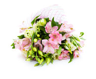 Bouquet of pink and green flowers. On white background Stock Image