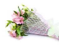 Bouquet of pink and green flowers. On white background Royalty Free Stock Images