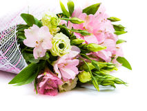 Bouquet of pink and green flowers. On white background Stock Photos
