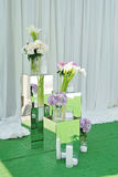 Bouquet of pink hydrangea flowers in a vase. Floral still life with hortensia. Purple hydrangea white calla pink and white peonies and candles mirrored squares Stock Image