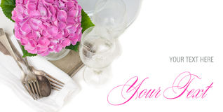 Pink hydrangeas and vintage cutlery Stock Photo