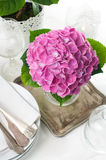 Pink hydrangeas and vintage cutlery Stock Images