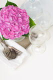 Pink hydrangeas and vintage cutlery Stock Photos