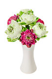 Bouquet of Pink Lotus in white vase. Royalty Free Stock Photography