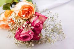 Bouquet with pink and orange roses Royalty Free Stock Photography
