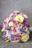 Bouquet of pink orchids, chrysanthemums and hortensias mixed wit Royalty Free Stock Photos