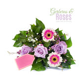 Bouquet of pink and purple flowers isolated on white Royalty Free Stock Photography