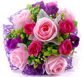 Bouquet of pink purple roses  on the white background Royalty Free Stock Photography
