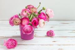 Bouquet of Pink Ranunculus, Buttercup Flowers Stock Photo