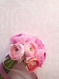 Ranunculus bouquet with ribbons Stock Photo