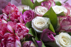 The Bouquet of pink rose and red tulips  for the bride Royalty Free Stock Photos