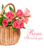 Bouquet of pink roses in a basket Stock Photography