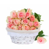 Bouquet of pink roses in basket Royalty Free Stock Photo