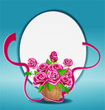 bouquet of pink roses in a basket Royalty Free Stock Image