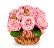 Bouquet of pink roses in a basket Royalty Free Stock Photo
