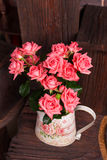 Bouquet of pink roses. Bouquet of beautiful pink roses in vintage vase Stock Images