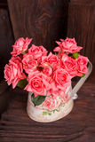 Bouquet of pink roses. Bouquet of beautiful pink roses in vintage vase Stock Photo