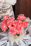 Bouquet of pink roses. Bouquet of beautiful pink roses in vintage vase Stock Photography
