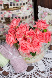 Bouquet of pink roses. Bouquet of beautiful pink roses in vintage vase Royalty Free Stock Photo