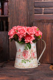 Bouquet of pink roses. Bouquet of beautiful pink roses in vintage vase Stock Image