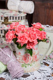 Bouquet of pink roses. Bouquet of beautiful pink roses in vintage vase Royalty Free Stock Image