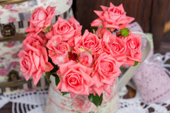 Bouquet of pink roses Stock Photos