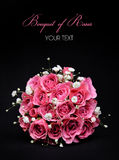 Bouquet of Pink Roses on black background. Bridal Royalty Free Stock Photography
