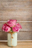 Bouquet of pink roses and blue muscari flower (Grape Hyacinth) Royalty Free Stock Image
