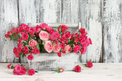 Bouquet of pink roses in box Royalty Free Stock Images
