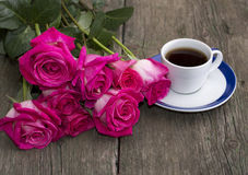 Bouquet of pink roses and coffee, still life Stock Photography