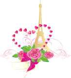 Bouquet of pink roses and Eiffel tower Royalty Free Stock Photo