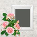Bouquet of pink roses, frame on a beautiful lace vintage background. Vintage background with frame for photo and pink roses royalty free illustration