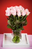 Bouquet of pink roses in glass vase against red background Royalty Free Stock Photo