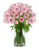 Bouquet of pink roses in glass vase isolated on white. Background Stock Image