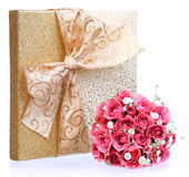 Bouquet of Pink Roses and Gold Gift Box isolated on white Stock Photos