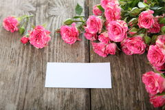 Bouquet of pink roses  and greeting card Stock Photos
