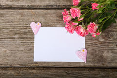 Bouquet of pink roses, heart  and greeting card Stock Photos