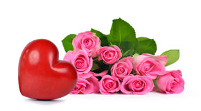 Bouquet of pink roses and heart Royalty Free Stock Photography