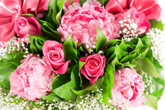 Bouquet of pink roses and  peony flowers Stock Photo