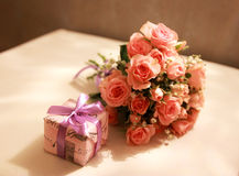 Bouquet of pink roses and a surprise Royalty Free Stock Photos