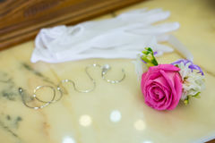 Bouquet of pink roses on the table Stock Photo