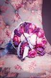 Bouquet of pink roses, tulips and sweet zephyr. Royalty Free Stock Images