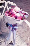 Bouquet of pink roses, tulips and sweet zephyr. Stock Images