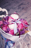 Bouquet of pink roses, tulips and sweet zephyr. Stock Image